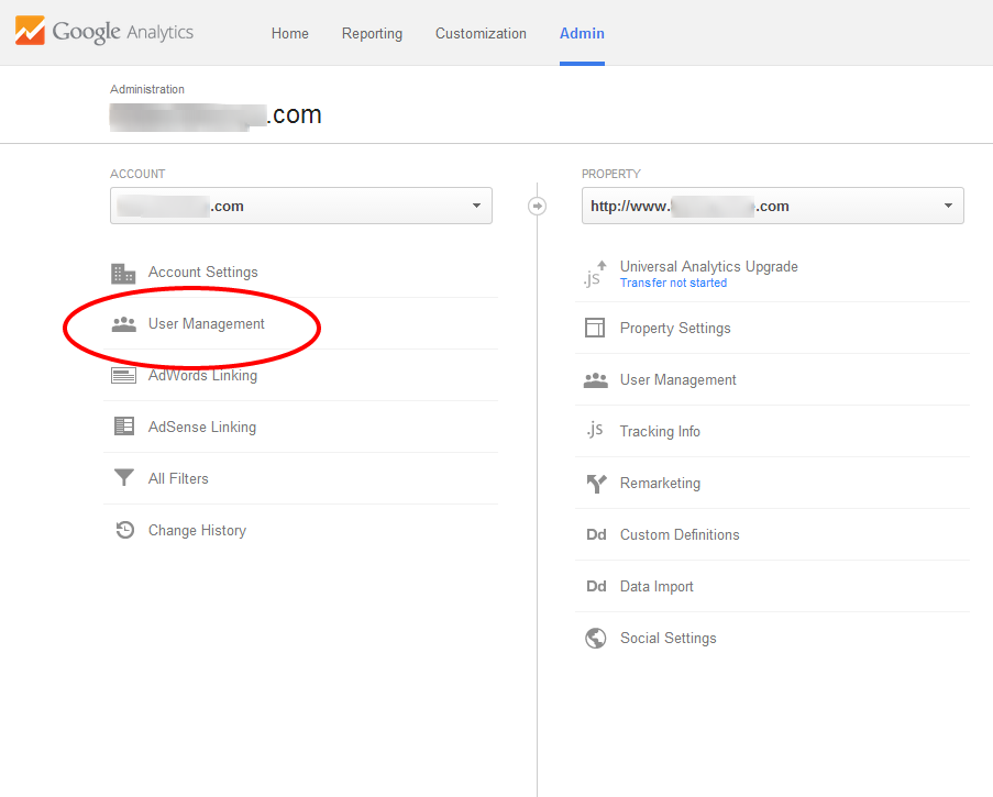 Sharing Google Analytics - Click User Management