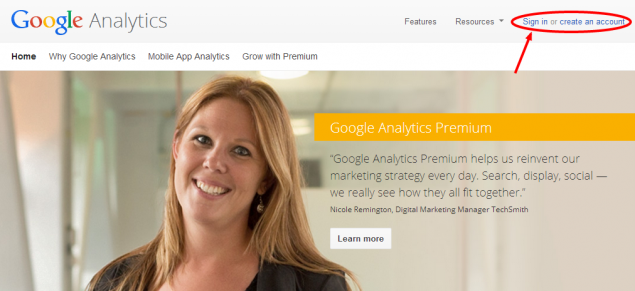 Google Analytics Login Page
