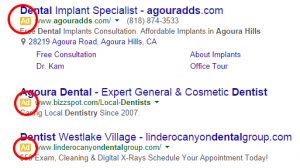 PPC ads - Google search results