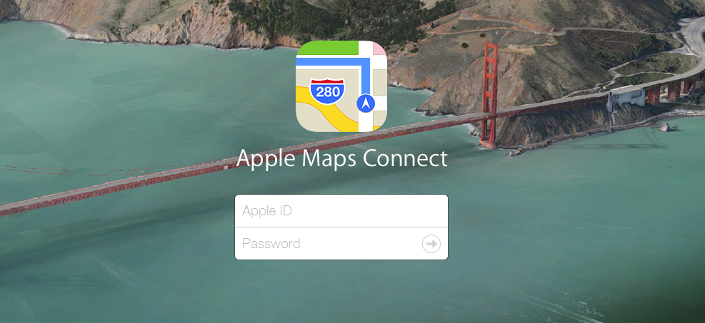 Apple Maps Connect Login Page