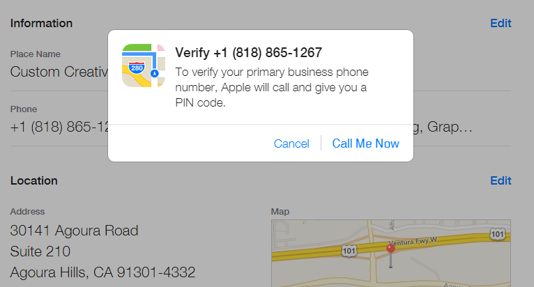 Apple Maps Connect - Phone Verification