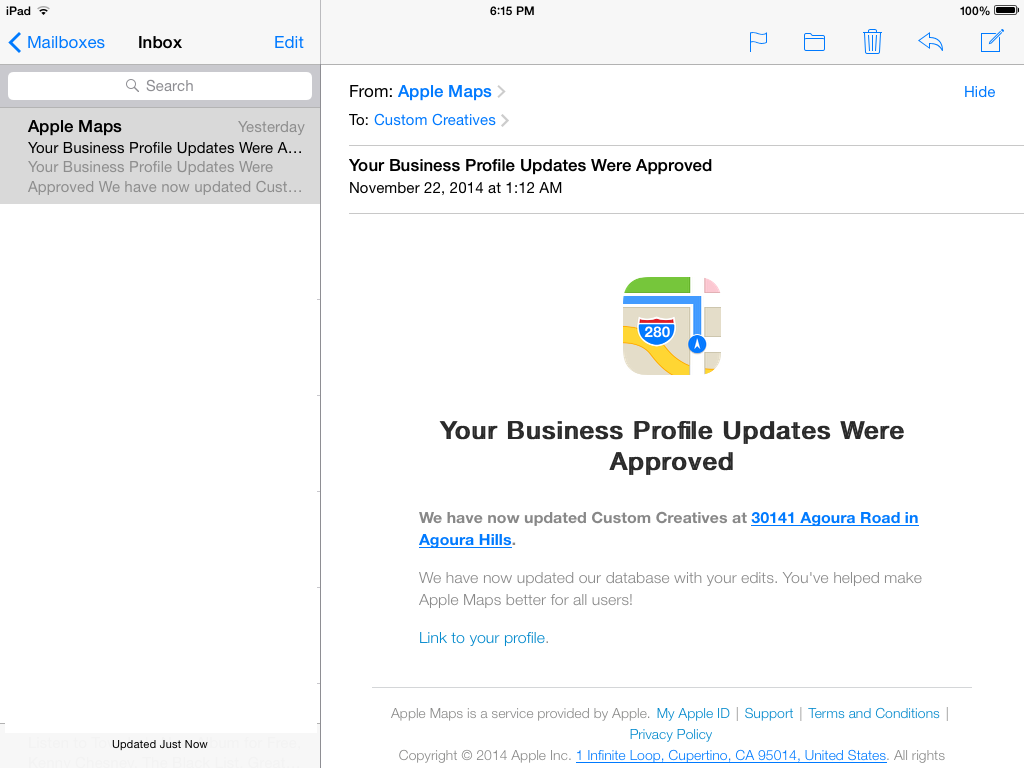 Apple Maps Email Approval