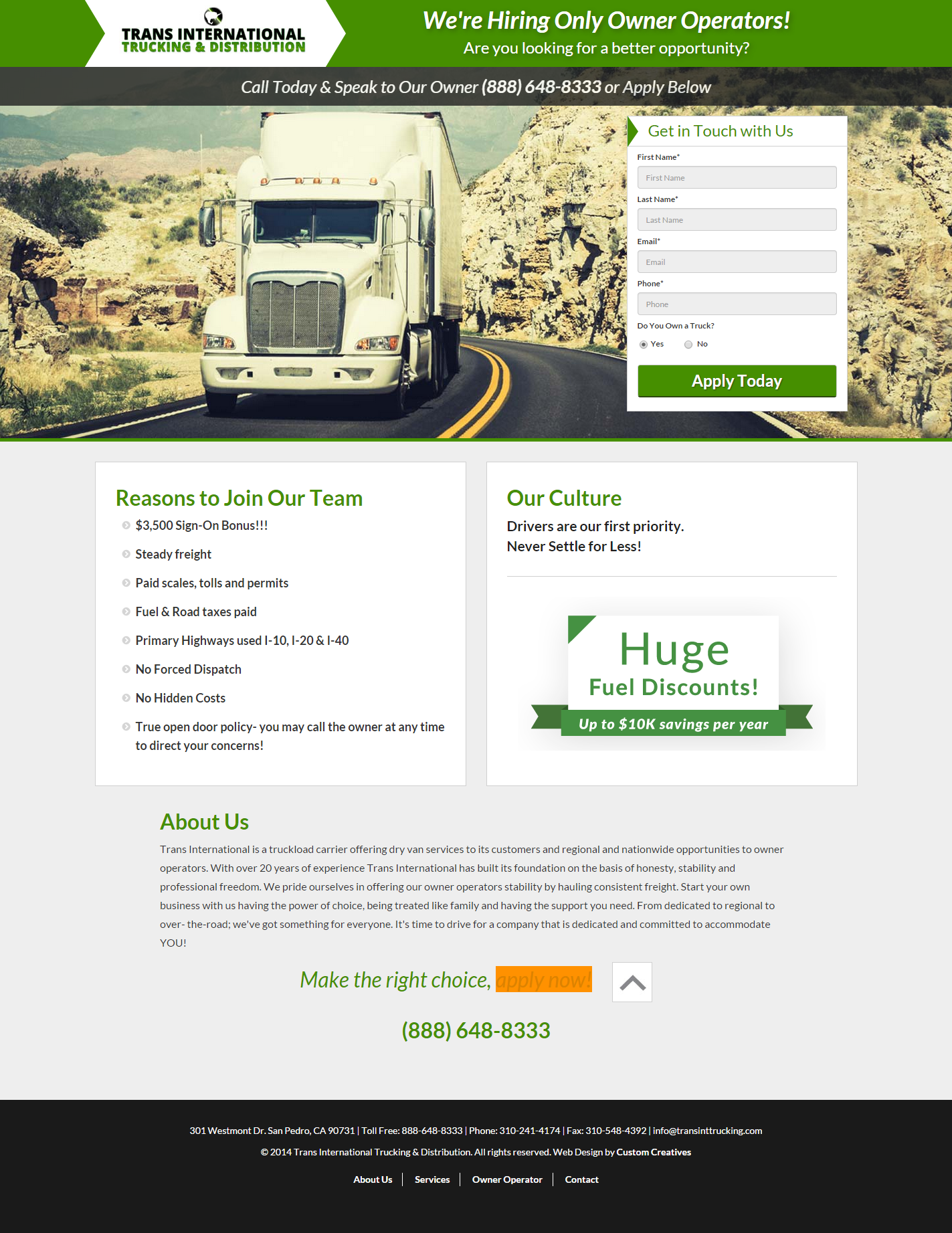 Landing Page - Trans International Trucking