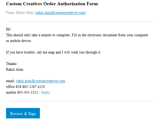 Electronic Signatures - CC Authorization Form