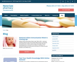 Home Care Pharmacy Blog Design