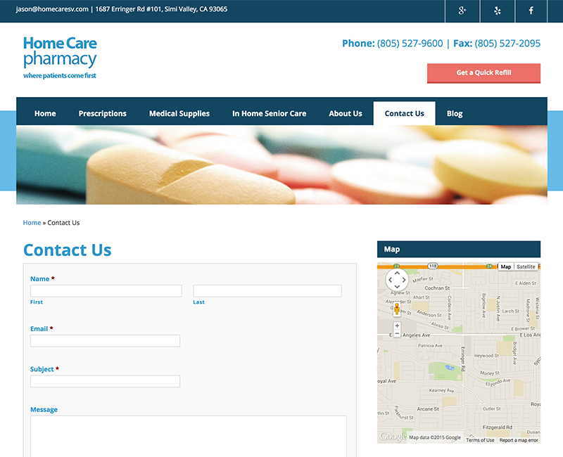 Home Care Pharmacy Contact Page Design