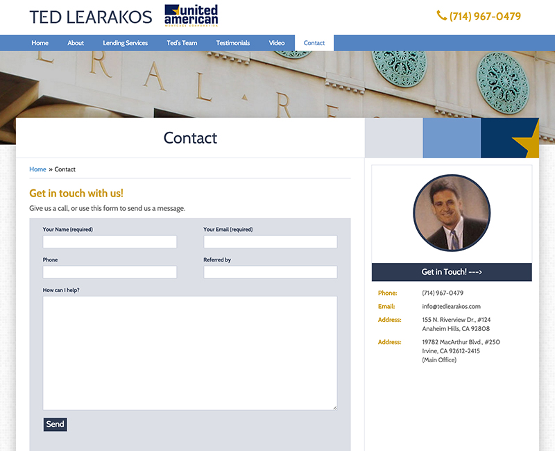 Ted Learakos Contact Page