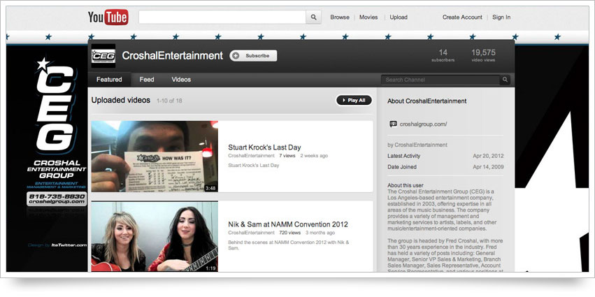 Croshal Entertainment Group YouTube Skin