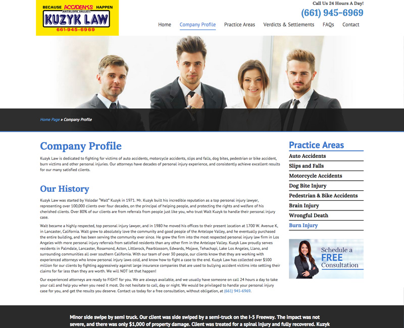 Kuzyk Law - Company Profile Page 1