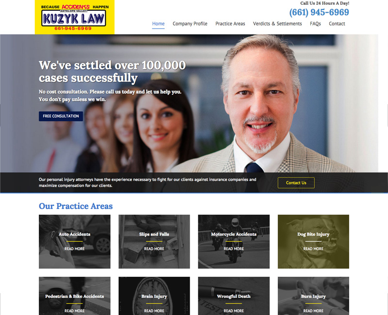 Kuzyk Law – Homepage Design 1