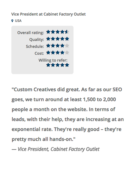 Client Reviews Kitchen Cabinet Marketing Agency